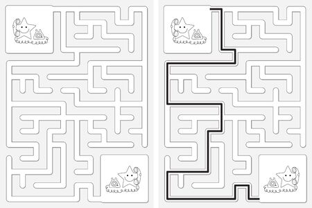 Easy little stars on the telephone maze for kids with a solution in black and white