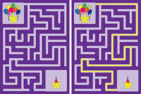 Easy little stars party maze for kids with a solution