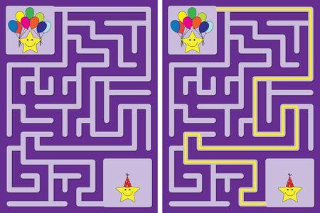Labyrinthe de fête des petites étoiles facile pour les enfants avec une solution