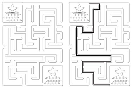 Easy little stars in a boat maze for kids with a solution in black and white