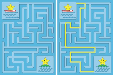 Easy little stars in a boat maze for kids with a solution Vecteurs