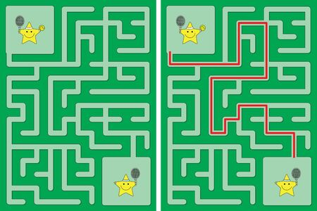 Easy little stars playing tennis maze for kids with a solution