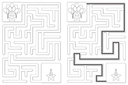 Easy little stars party maze for kids with a solution in black and white