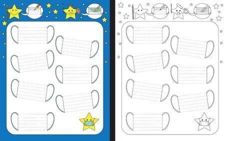 Preschool worksheet for practicing fine motor skills - tracing dashed lines of face masks