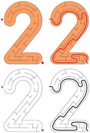 Easy number maze for kids with a solution - worksheet for learning numbers - recognizing number 2