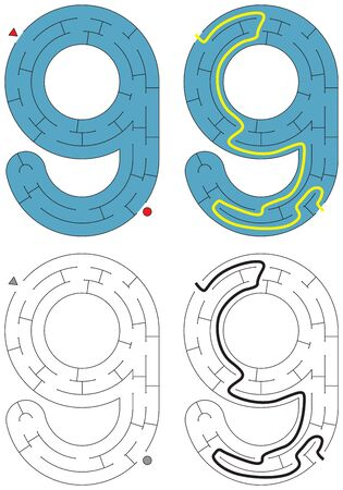 Easy number maze for kids with a solution - worksheet for learning numbers - recognizing number 9