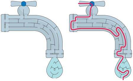 Easy faucet maze for younger kids with a solution Stock Illustratie