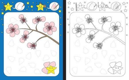 Preschool worksheet for practicing fine motor skills - tracing dashed lines of cherry flower petals Ilustración de vector