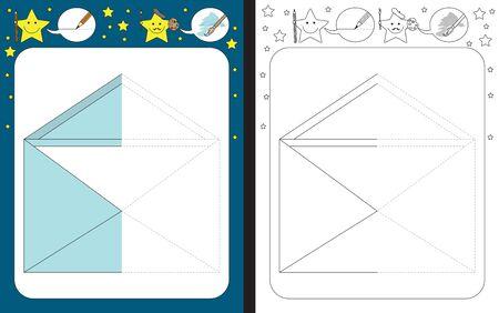 Preschool worksheet for practicing fine motor skills - tracing dashed lines - finish the illustration of a letter Vecteurs