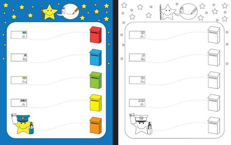 Preschool worksheet for practicing fine motor skills - tracing dashed lines from letters to mailboxes
