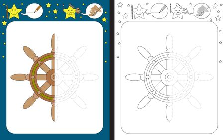 Preschool worksheet for practicing fine motor skills - tracing dashed lines - finish the illustration of a helm