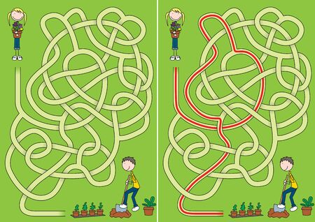 Little gardeners maze for kids with a solution Vektorgrafik