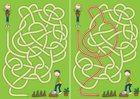 Little gardeners maze for kids with a solution Vektorové ilustrace