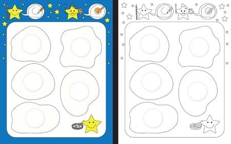 Preschool worksheet for practicing fine motor skills - tracing dashed lines of egg yolks