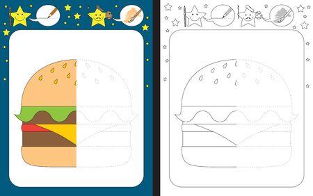 Preschool worksheet for practicing fine motor skills - tracing dashed lines - finish the illustration of a hamburger