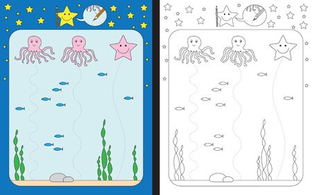 Preschool worksheet for practicing fine motor skills - tracing dashed lines from octopuses to the bottom of the sea Illusztráció