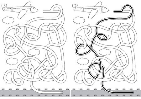 Airplane maze for kids with a solution in black and white