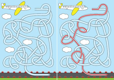 Airplane maze for kids with a solution Vectores