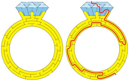 Easy diamond ring maze for kids with a solution