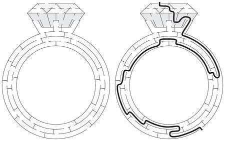 Easy diamond ring maze for kids with a solution in black and white