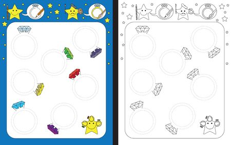 Preschool worksheet for practicing fine motor skills - tracing dashed lines of rings