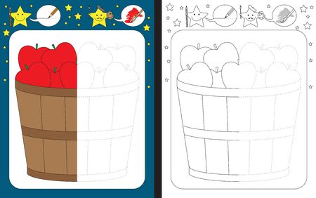 Preschool worksheet for practicing fine motor skills - tracing dashed lines - finish the illustration of apples in a wooden bucket
