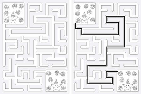 Easy little stars in the snow maze for kids with a solution in black and white Illusztráció