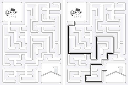 Easy little star chimney sweeper maze for kids with a solution in black and white Vektoros illusztráció