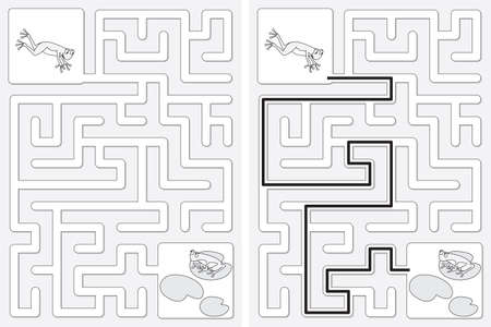 Easy little frogs maze for kids with a solution in black and white Illusztráció