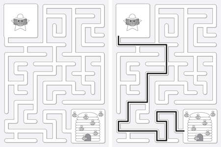 Easy little star beekeeper maze for kids with a solution in black and white Illusztráció