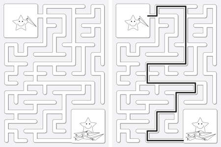 Easy little stars with paper planes maze for kids with a solution in black and white Illusztráció