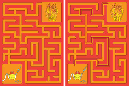 Easy little star firefighter maze for kids with a solution