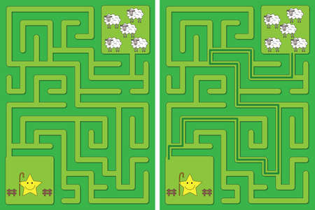 Easy little star shepherd and sheep maze for kids with a solution