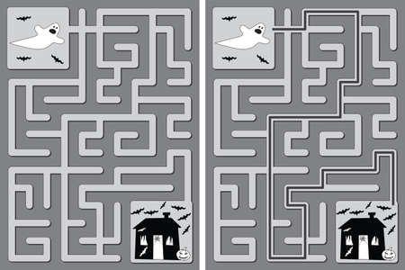 Easy Halloween maze for kids with a solution in black and white