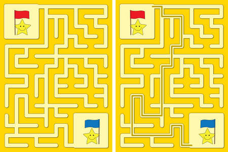 Easy little stars and flags maze for kids with a solution