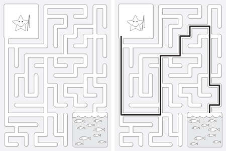 Easy little star going fishing maze for kids with a solution in black and white