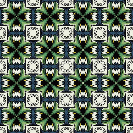 Seamless illustrated pattern made of abstract elements in white, blue, green, yellow and black Ilustração