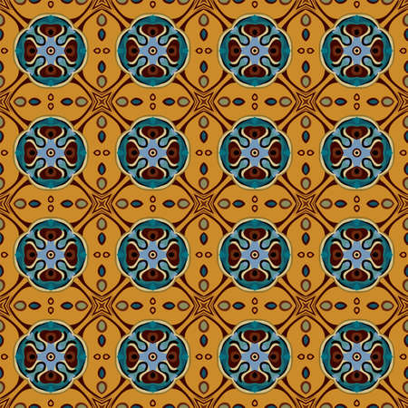 Seamless illustrated pattern made of abstract elements in yellow, orange, brown, blue and black