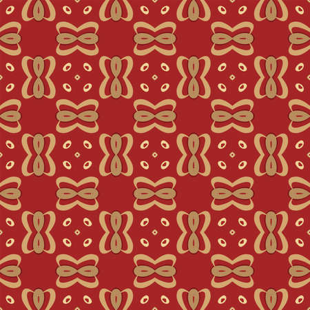 Seamless illustrated pattern made of abstract elements in red and shades of yellow Ilustração