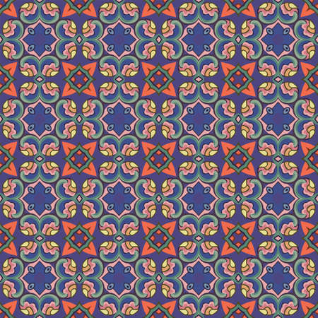 Seamless illustrated pattern made of abstract elements in blue, red, green, yellow, orange, pink, brown and gray Ilustração