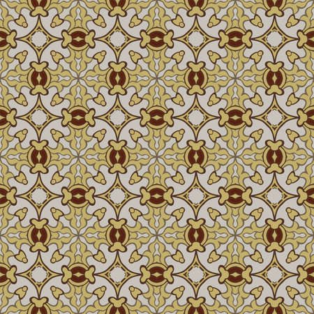 Seamless illustrated pattern made of abstract elements in beige, yellow and shades of brown Ilustração