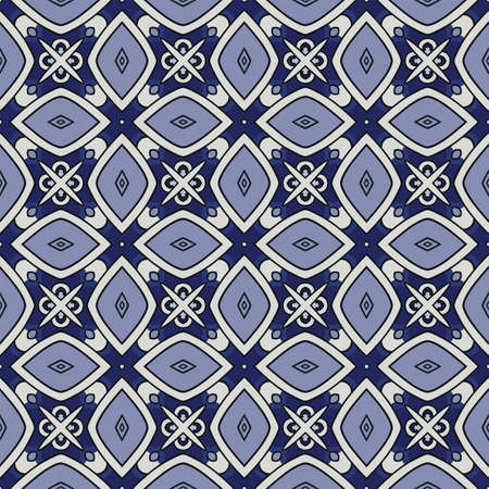 Seamless illustrated pattern made of abstract elements in whiteand shades of blue