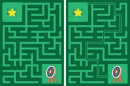 Easy little star archer maze for younger kids with a solution
