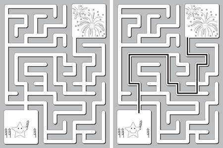 Easy little star and fireworks maze for younger kids with a solution in black and white