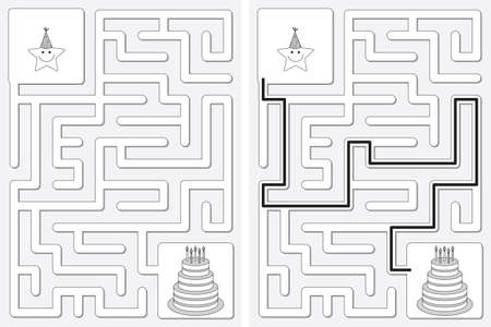 Easy little star archer maze for younger kids with a solution in black and white