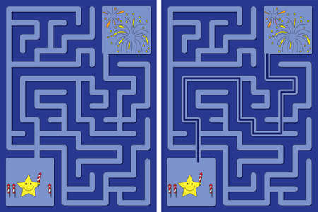 Easy little star and fireworks maze for younger kids with a solution Vektorgrafik