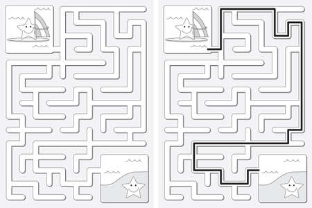 Easy little star surfer maze for younger kids with a solution in black and white