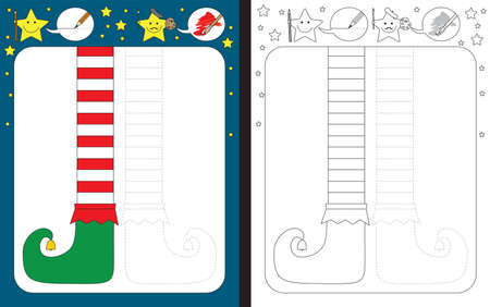 Preschool worksheet for practicing fine motor skills - tracing dashed lines - finish the illustration of elf legs