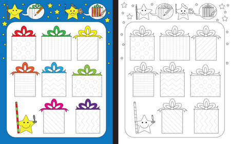 Preschool worksheet for practicing fine motor skills - tracing dashed lines on presents - finish wrapping papers design Illusztráció