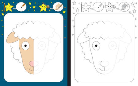 Preschool worksheet for practicing fine motor skills - tracing dashed lines - finish the illustration of a sheep